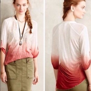 Anthropologie Tiny dip dyed embroidered blouse